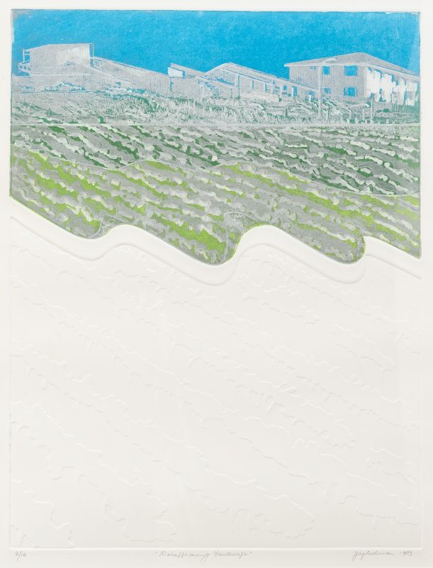 #24 Disappearing Landscape - Joy Redman  |  Coloured Etching  |  74x60x4  |  1985