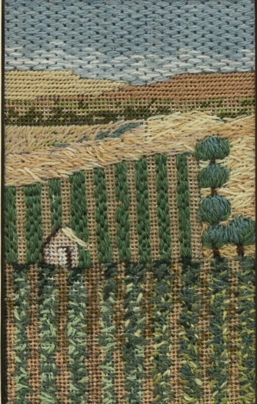 #63 Embroidered Vineyard - Carol Mullan  |  Embroidery  |  46x37x2  |  1991