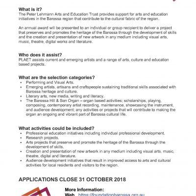 Peter Lehmann Arts & Education Trust applications now open