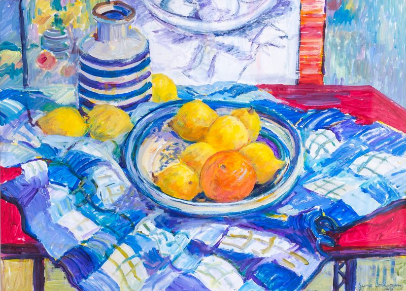 #58 Still Life & Red Table - June Colligan  |  Mixed Media  |  85x100x5  |  1991