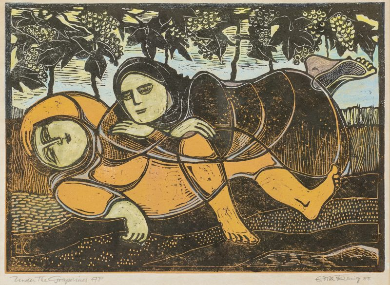 #26 Under the Grape Vines - Edith Kring  |  Coloured Woodblock  |  56x66x3  |  1985